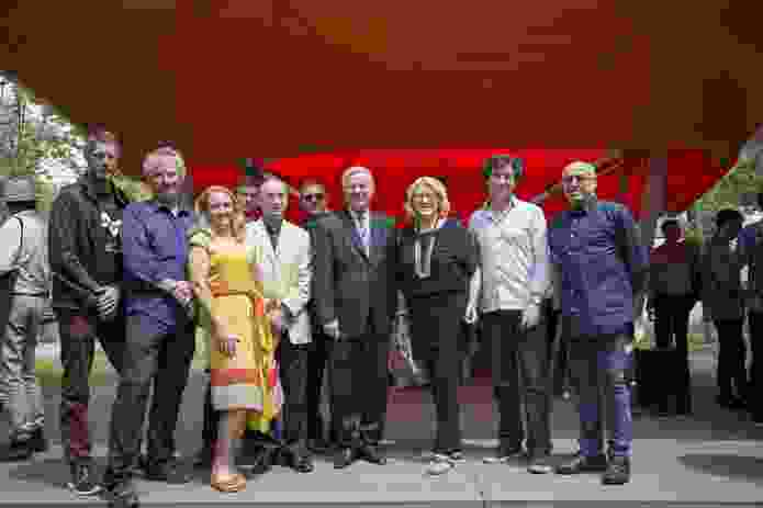 The creative team. L–R: Craig McCormack, Simon Anderson, Sophie Giles (curator), Matt Delroy-Carr, Philip Goad and Rene Van Meeuwen (curators) with Ambassador Mike Rann, Janet Holmes A Court (Australian Pavilion Commissioner), David Karotkin (national president of Australian Institute of Architects), and Brian Zulaikha (Australian Venice Architecture Biennale Committee Chair).