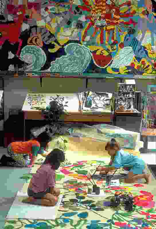 Painting in the Atelier, Diana Municipal Preschool, Reggio Emilia, Italy.