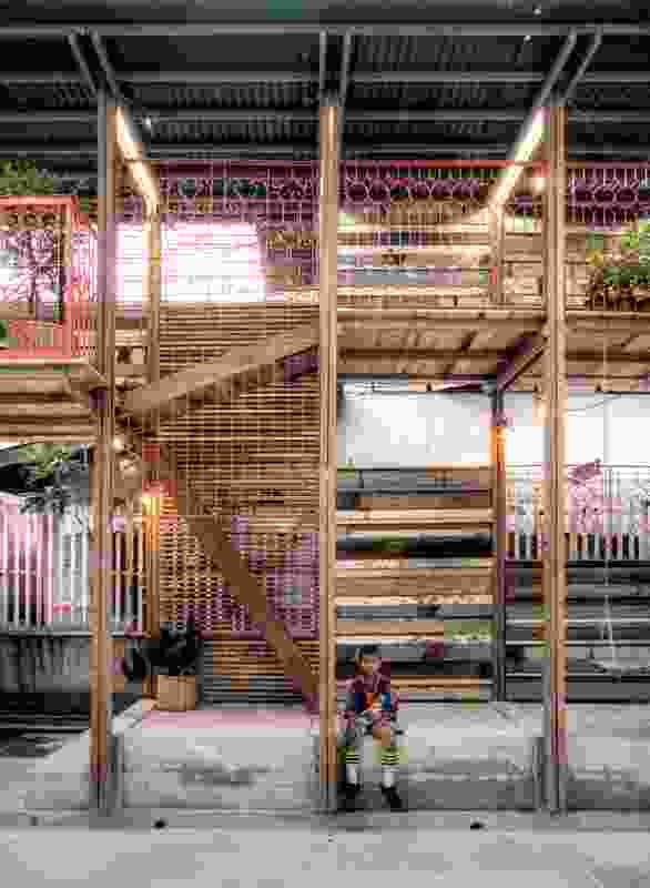 TYIN tegnestue Architects, Klong Toey Community Lantern: a view of part of the structure seen from the football court.