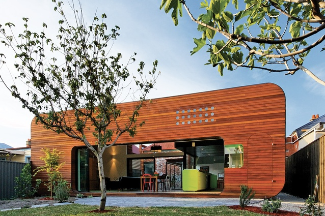 "Mash House (2010): a living, dining and kitchen area in a ""retro-futuristic"" pavilion."