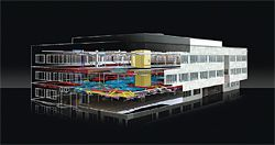 Rendering of an Autodesk US office renovation project as generated from the original analysis and MEP to structural and construction elements. Courtesy of KlingStubbins.