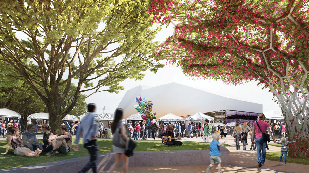 A market event in the proposed redevelopment of Adelaide Festival Plaza designed by ARM Architecture and Taylor Cullity Lethlean.