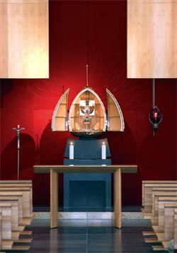 Altar furniture in the Chapel of the Blessed Sacrament by Kevin Perkins and Tabernacle by Robin Blau.