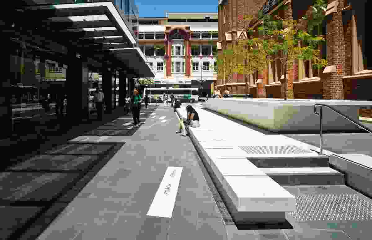 The laneway upgrade around Wesley Church by Hassell offers a resting place adjacent to Hay Street's bustling retail precinct.