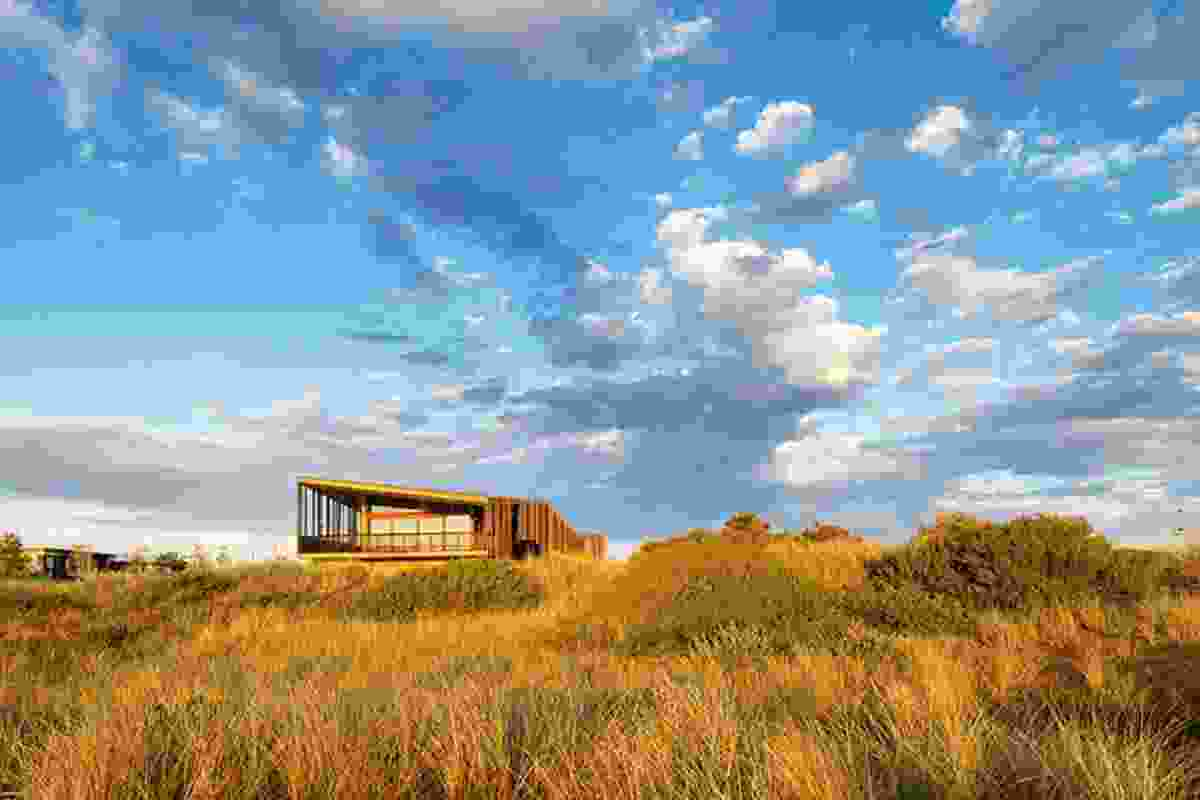The pavilion is a distinct public building comfortable in its surrounds.