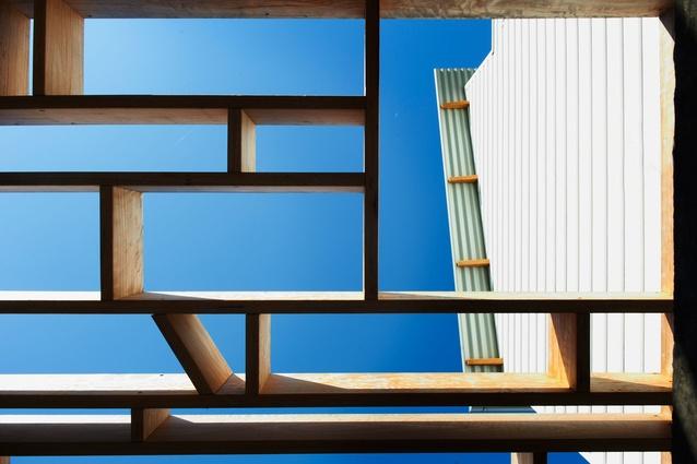 Detail of the hardwood lattice pergola over the new rear deck.
