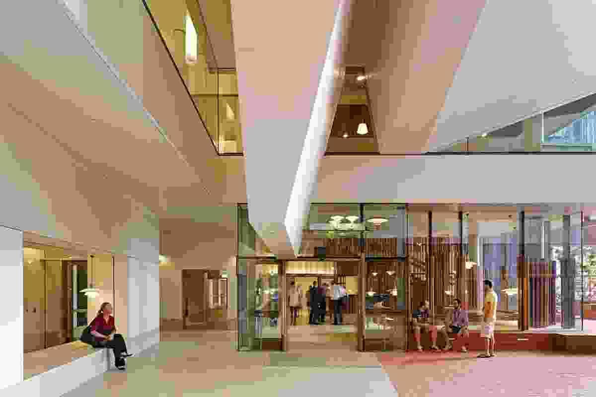 Atrium-level reception area.