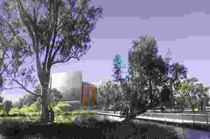 """Denton Corker Marshall's proposal for Shepparton Art Museum is conceived as a """"land sculpture."""""""