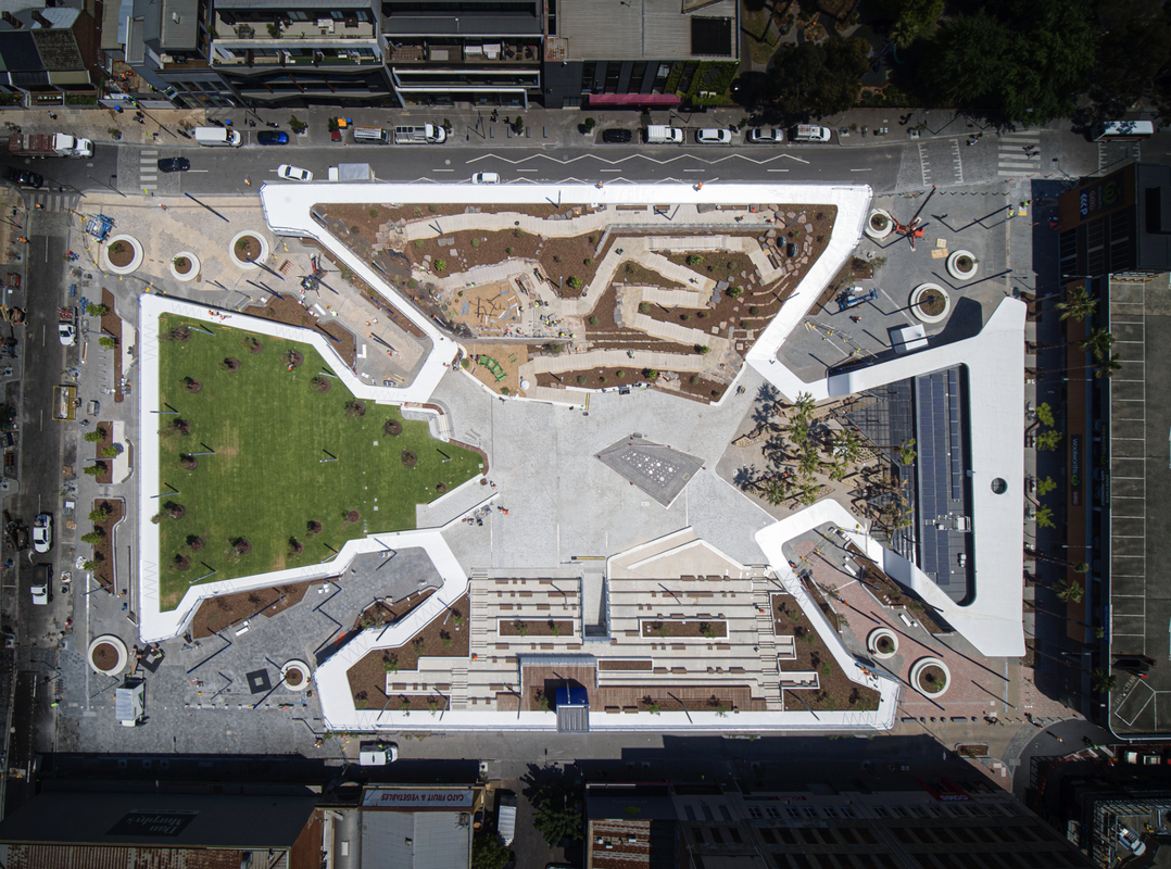 The recently completed Prahran Square in Melbourne, by Lyons Architecture and Aspect Studios.
