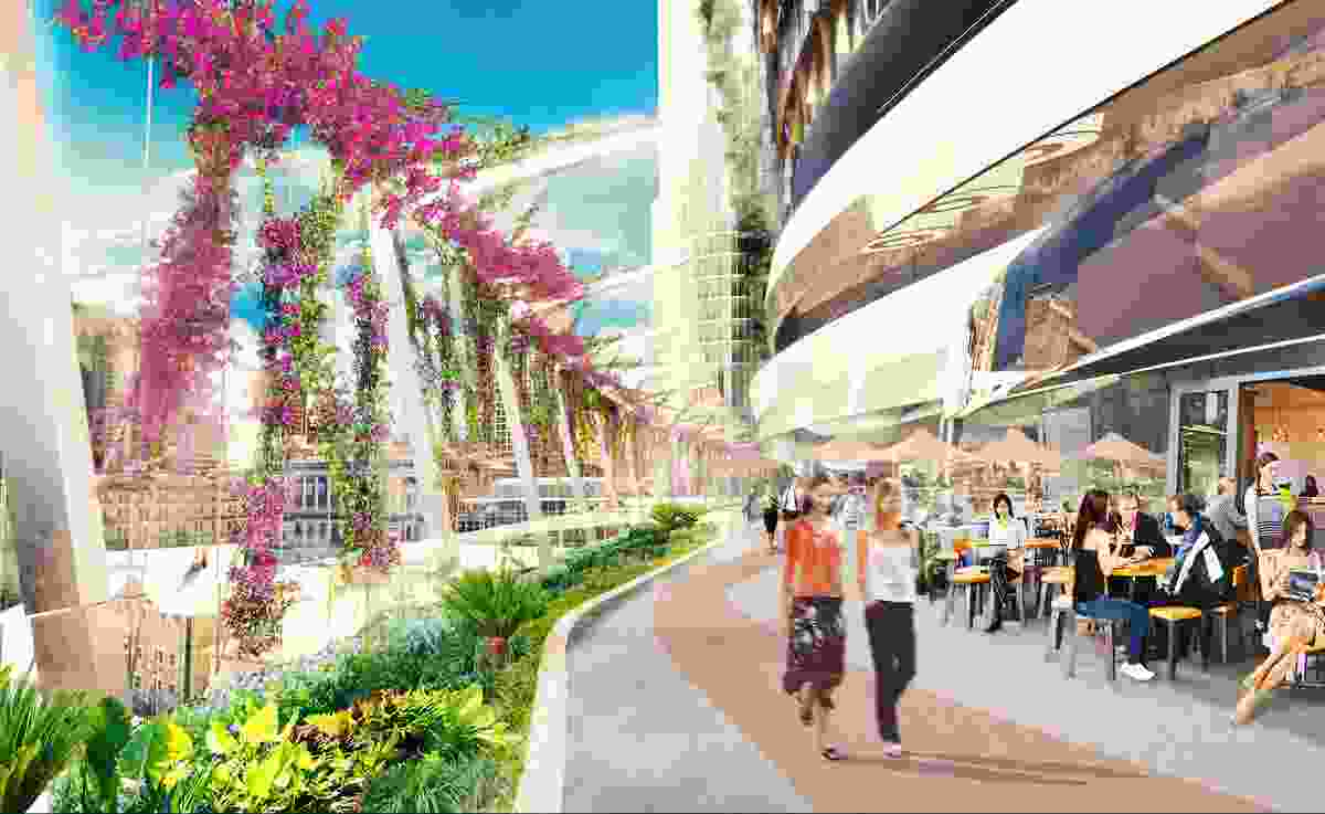 The riverview terrace of the proposed Queens Wharf Brisbane casino resort redevelopment designed by Cottee Parker Architects.