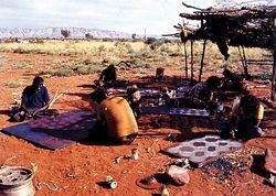 Single men's painting camp at Papunya.