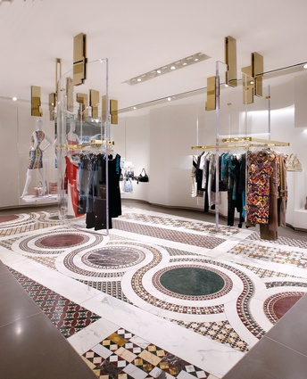 The marble inlay in the floor is a direct reference to italy's architectural history.