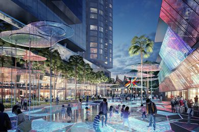 "The proposed ""interactive digital carpet"" in the Parramatta Square public domain by James Mather Delaney Design, Taylor Cullity Lethlean, Tonkin Zulaikha Greer and Gehl Architects"