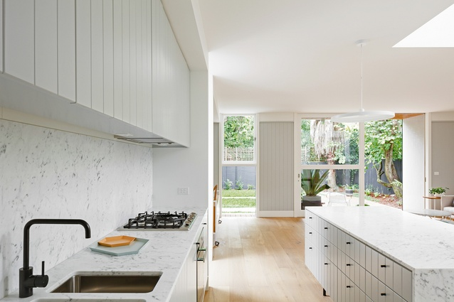 The use of Carrara marble in the kitchen is the only concession to conventional luxury in this house.