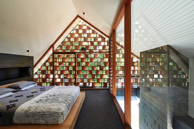 The exquisitely detailed screen at Local House filters light and creates a unique outlook for the main bedroom and from the living room below.