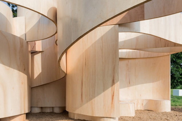 Serpentine Summer House 2016 designed by Barkow Leibinger. The structure is conceived as a series of undulating structural bands, reminiscent of a blind contour drawing.