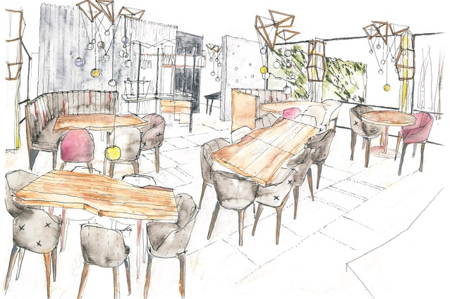 A concept sketch for the dining room. Illustration by Adrian Amore.