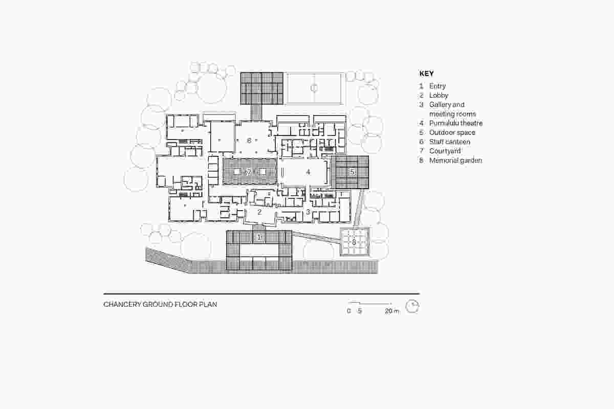 Australian Embassy Jakarta Chancery ground floor plan.