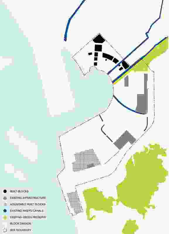 Diagram of streams and channels crossing the site and linking to the harbour.