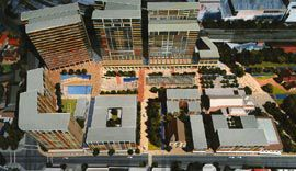 Aerial view of the model showing the series of public spaces running between Lancer Barracks and St John's Church.