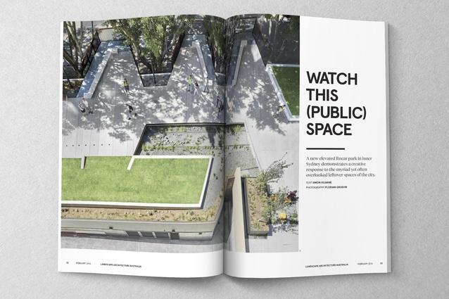 Spread from <i>Landscape Architecture Australia</i> 149.