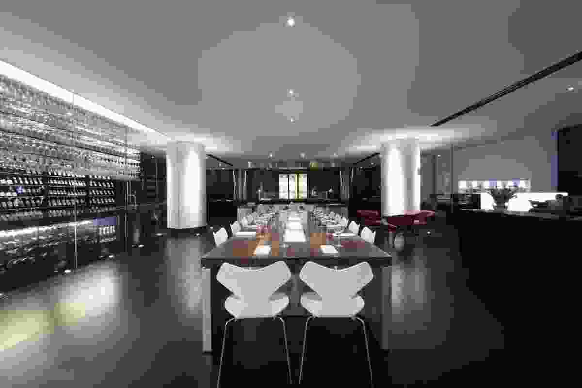 The real interior at the Hilton Brisbane bar and restaurant by Landini Associates.