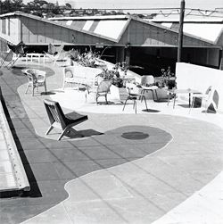 In Karl Langer's original design the rooftop was used as an outdoor showroom. Photograph Laurie West c.1956.
