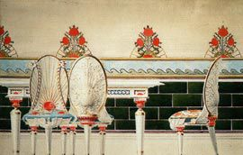 Chairs, table and dado, watercolour by Lucien Henry.