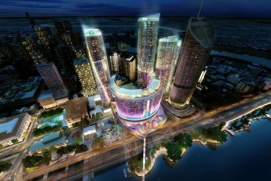 Aerial night view of the proposed Queens Wharf Brisbane casino resort redevelopment designed by Cottee Parker Architects.