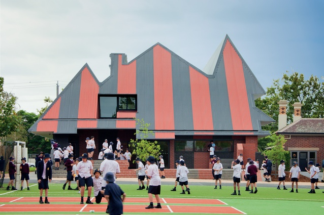 At Penleigh and Essendon Grammar School Junior Boys building (2011) the street facade traces the silhouette of a Federation house.