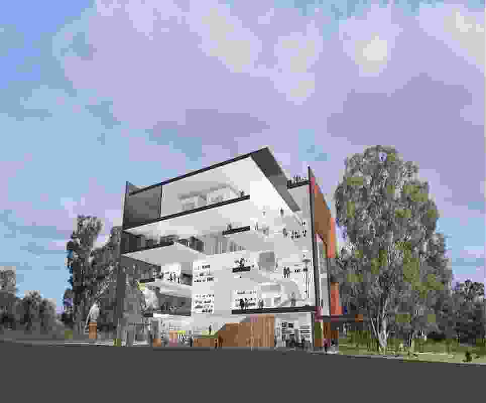 A section of the winning design for the Shepparton Art Museum by Denton Corker Marshall.