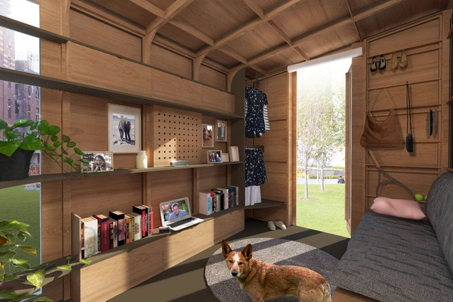 The interior of Big World Homes' flat-packed off-grid tiny home.