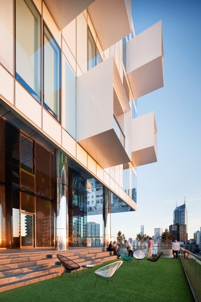 The Observatory, a communal space on level eleven, is located at the break between the two volumes.