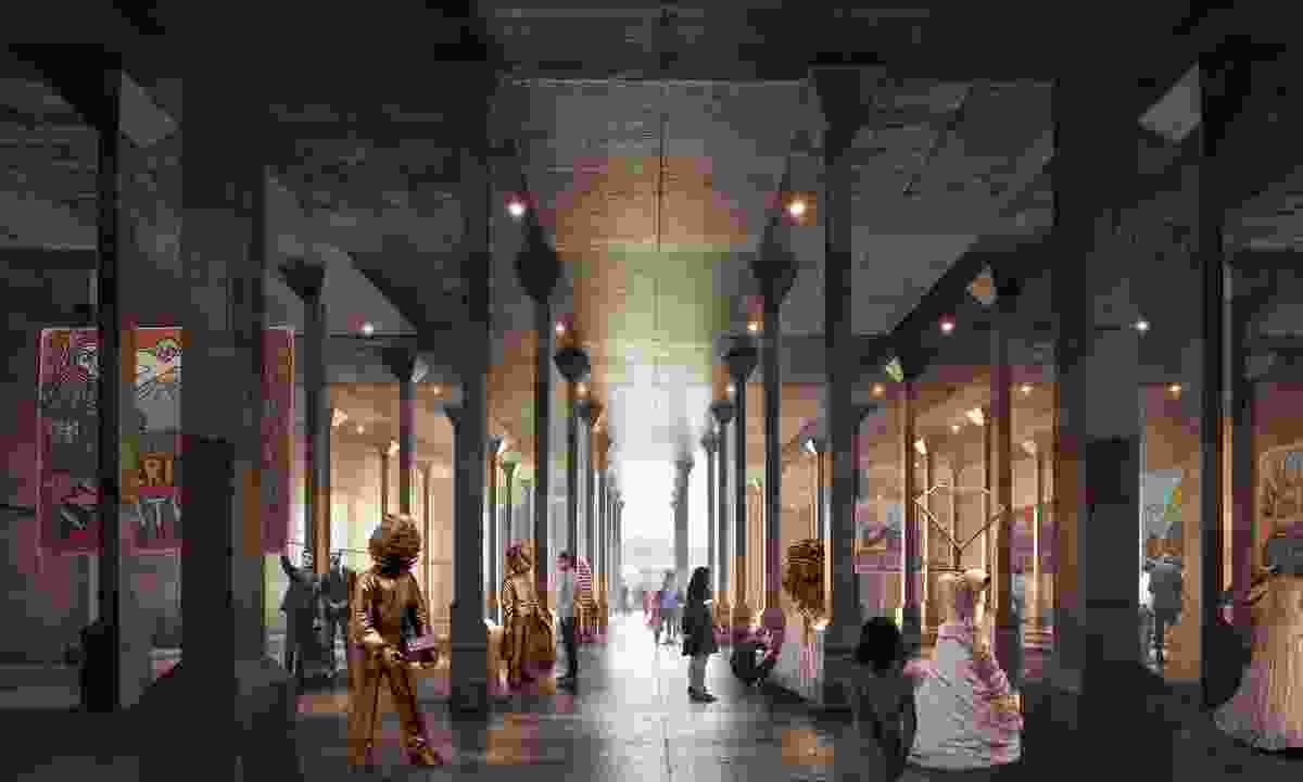 In progress image of Sydney Modern Project, oil tank gallery as produced by Kazuyo Sejima + Ryue Nishizawa / SANAA. Featuring artworks left to right: Eko Nugroho, Lot Lost, 2013-2015, © Eko Nugroho; Anselm Kiefer, Women of antiquity, 2002, © Anselm Kiefer.