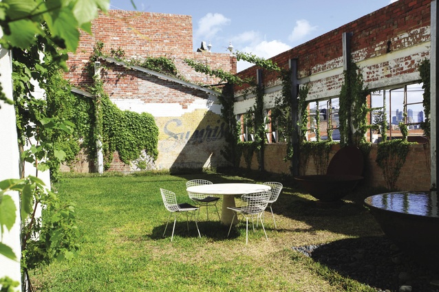 The grassed courtyard on the residential level of the factory.