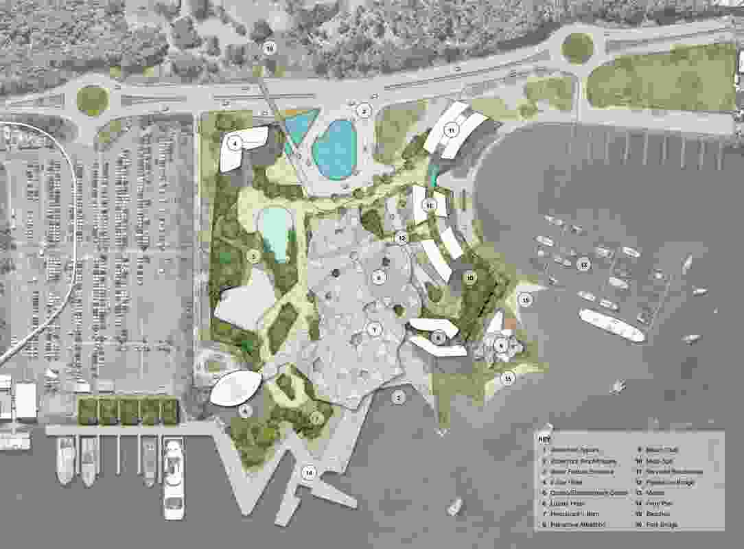 Concept plan of the proposal for the Gold Coast Integrated Resort designed by Blight Rayner.