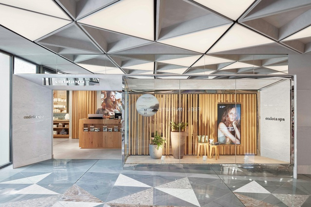 Triangular marble and terrazzo floors reference Canberra's architectural context and are animated by a continually changing play of light.