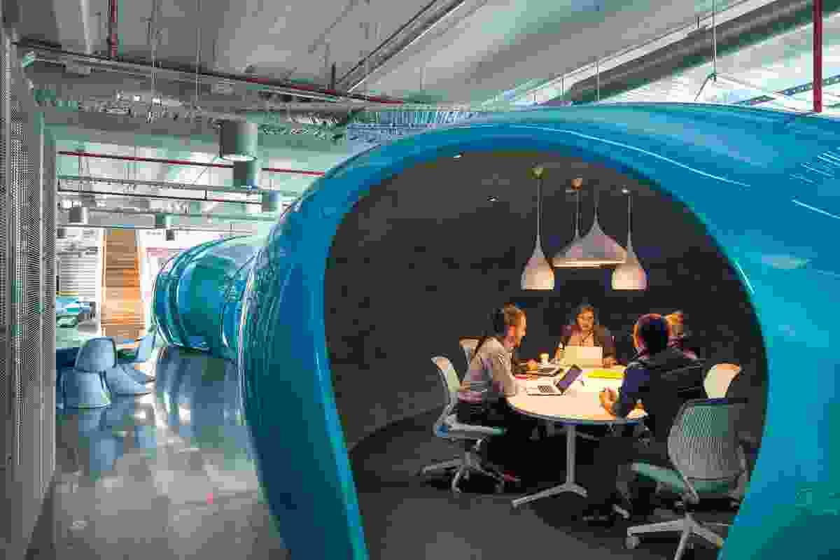 Fibreglass 'Aquapods' act as break-out meeting rooms.