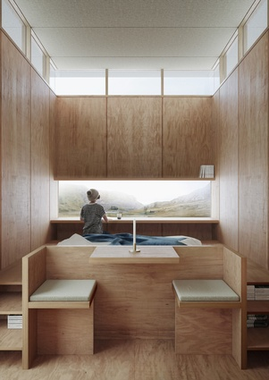 The interior of the Slate Cabin by Trias will feature a built-in seating space, a raised bed platform and a desk.