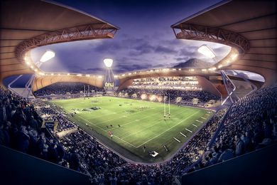 Indicative design for a new stadium in Townsville by Cox Architecture, produced for a 2013 feasibility study by KPMG.