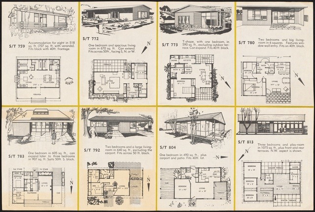 Folded Booklet Of House Plans Prepared By The Small Homes Service New South  Wales, Conducted By The Royal Australian Institute Of Architects (New South  ...