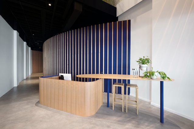A custom joinery piece takes centrestage at the entry. A curved wall guides guests through to the gym and five treatment rooms are hidden behind it.