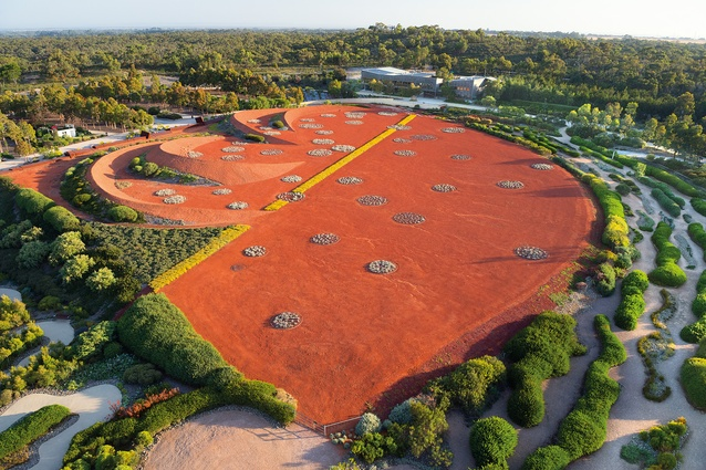 An aerial view over stage 1 of the Australian Garden at the Royal Botanic Gardens, Cranbourne.