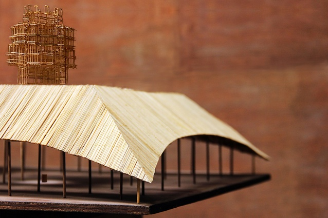 A model of the 2016 MPavilion designed by Studio Mumbai.