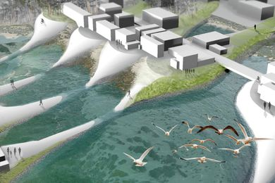 A new form of urban district accommodates tidal influx and storm surge, while also bringing the city's inhabitants closer to the cycles of the estuary.