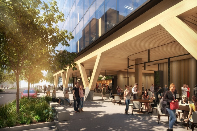 The ground level of the proposed 5 King engineered timber office tower designed by Bates Smart will feature a 54-metre-long timber colonnade lined with cafes and restaurants.