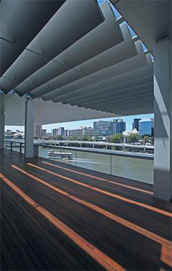 The roof terrace, looking over Brisbane River. Photograph Peter Hyatt.