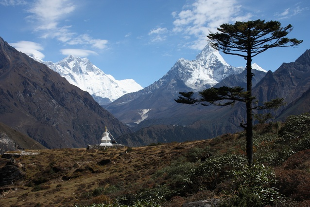 View of mighty Ama Dablam en route to the village of Khumjung after leaving the Hotel Everest View.