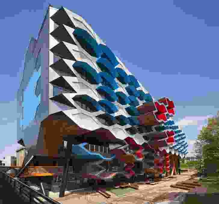 """North elevation has extruded """"cells"""" in the facade."""