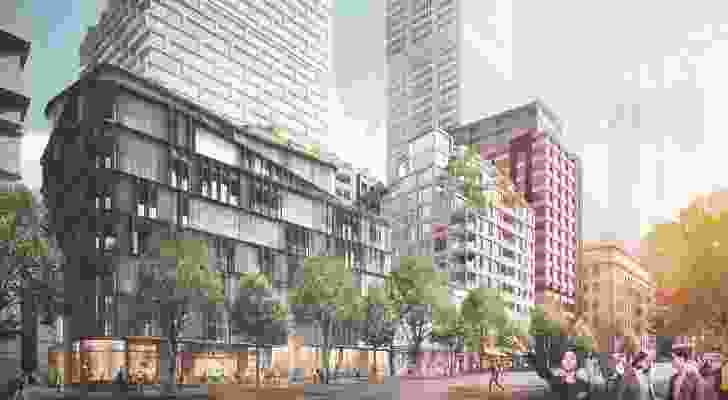 2-10 Lotus Street mixed use building in Quay Quarter designed by Make Architecture (left) and 16-20 Lotus Street by Silvester Fuller.
